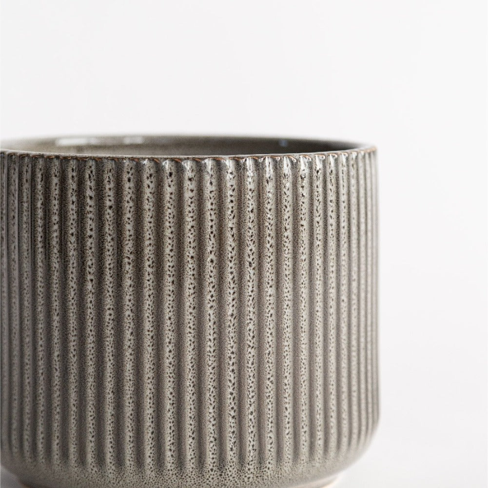 Levi Ceramic Pot, A textured glazed gray ceramic plant pot from Tonic Living