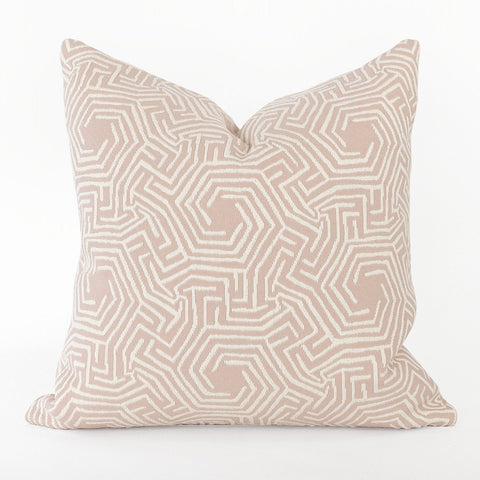 Lilly Pillow, Peony, a blush pink with cream geometric pattern pillow from Tonic Living
