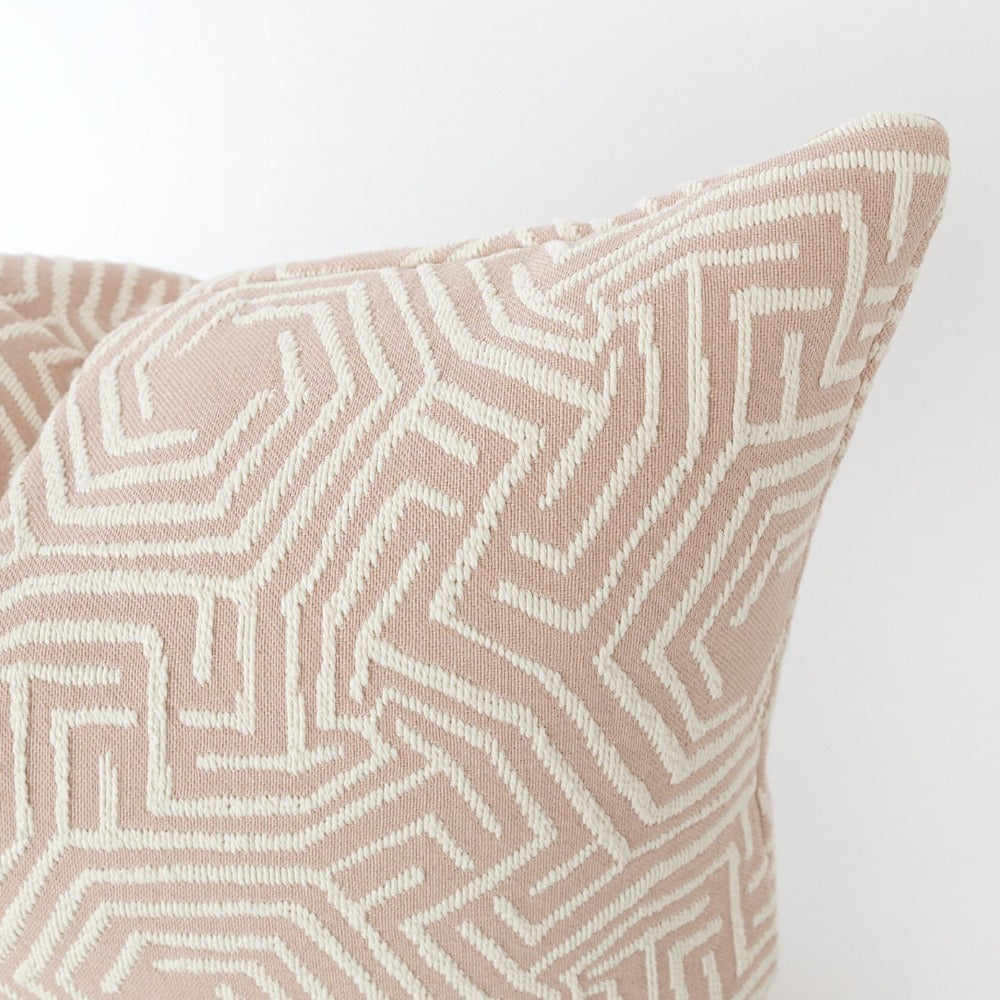 Lilly Lumbar Pillow, a blush pink with cream motif pillow from Tonic Living