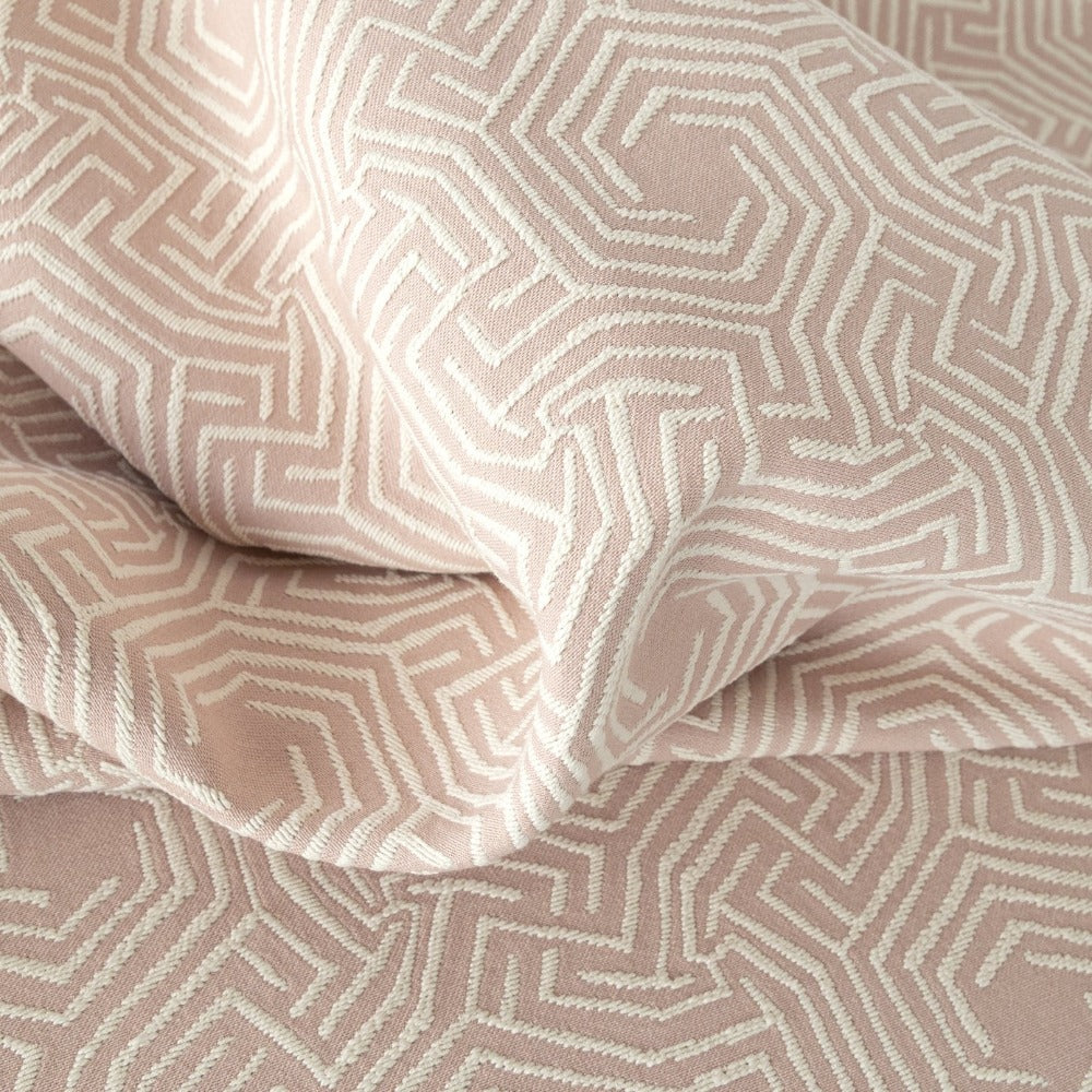 Lilly Fabric, Peony a cream motif on muted pink jacquard fabric from Tonic Living