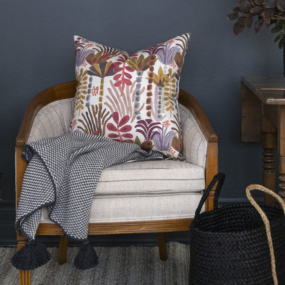 Lottie Tassel Throw, Charcoal