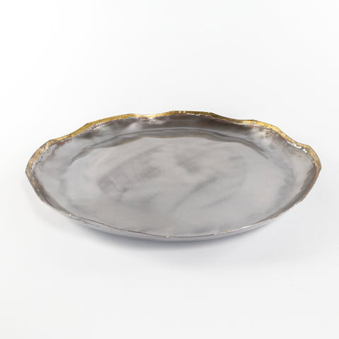 Luna Tray, a silver and gold organic round metal tray from Tonic Living