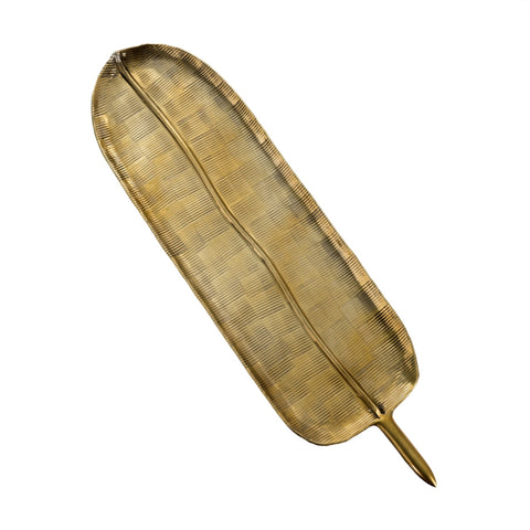 Lyn, Brass Banana Leaf Tray - [Product_type] - Tonic Living