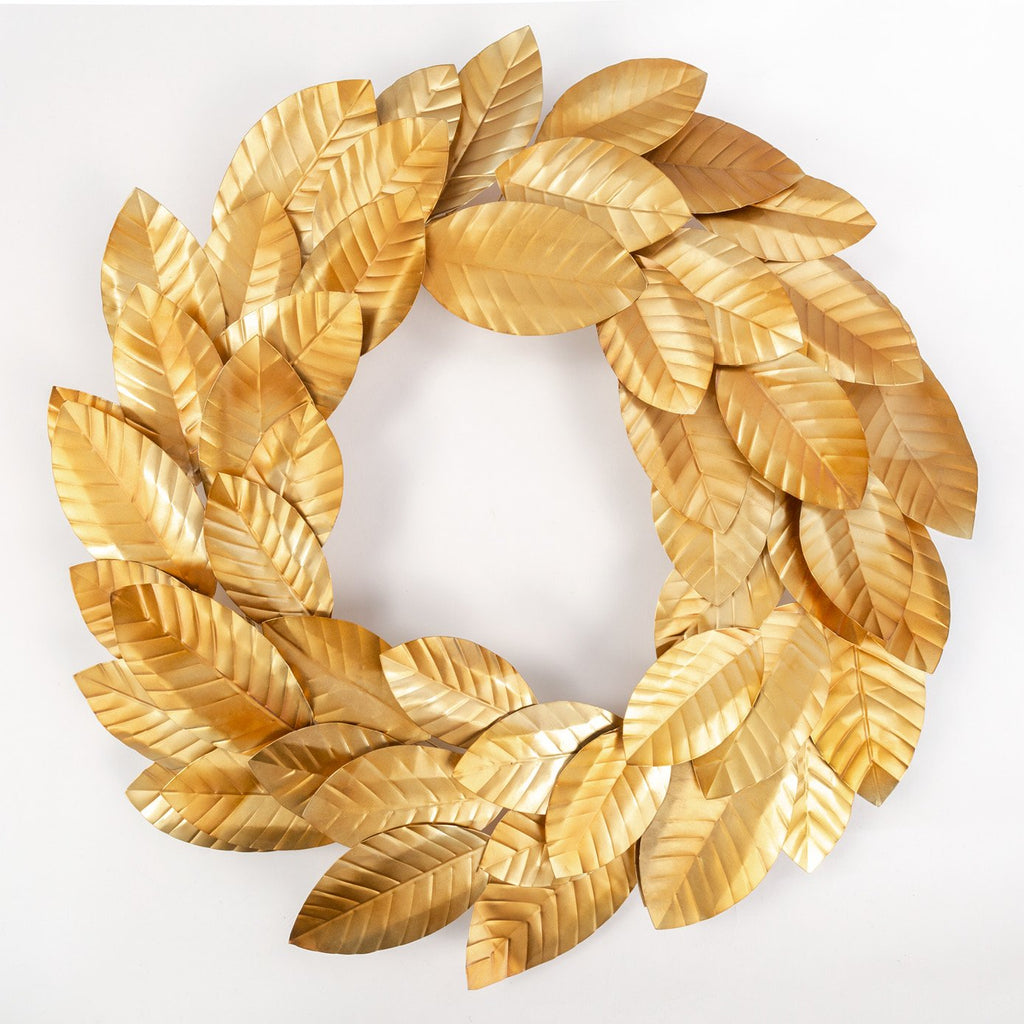 Magnolia gold metal wreath from Tonic Living