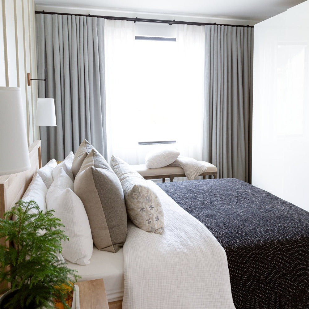 Creative Director Mandy Milks bedroom with Billie throw