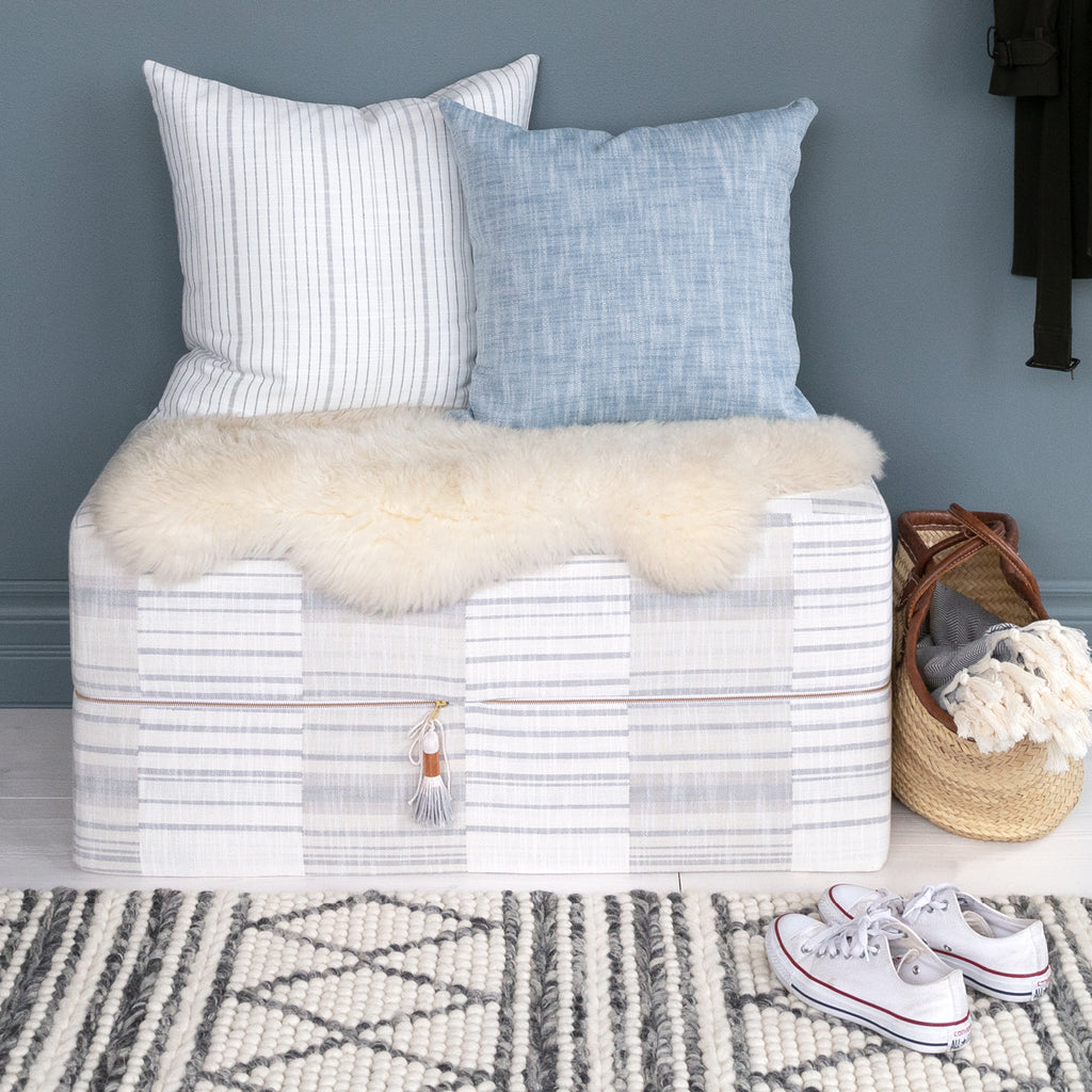 Patchwork gray stripe ottoman from Tonic Living