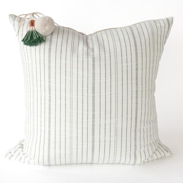 Black, cream and grey striped outdoor Meghan pillow from Tonic Living