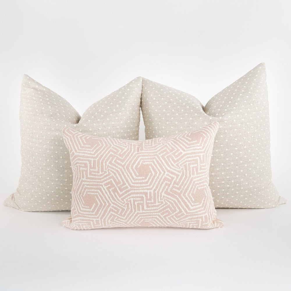 Mila Dot, Flax a large white and beige linen blend polka dot pillow from Tonic Living