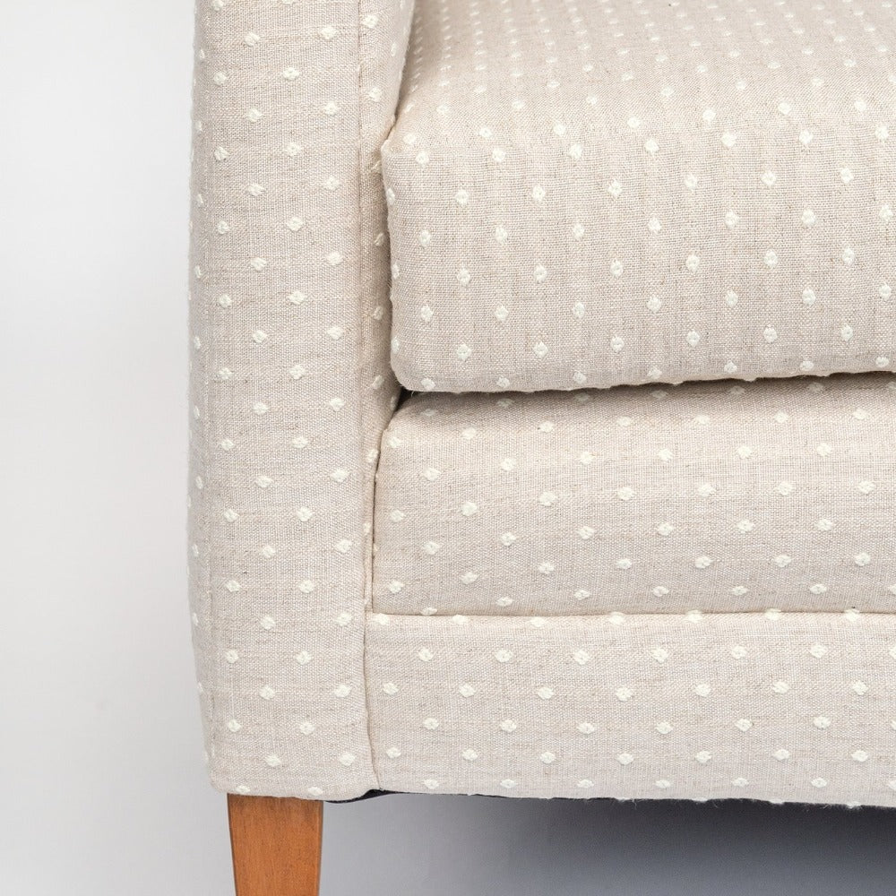 Mila Dot, Flax white and beige linen blend polka dot sofa from Tonic Living
