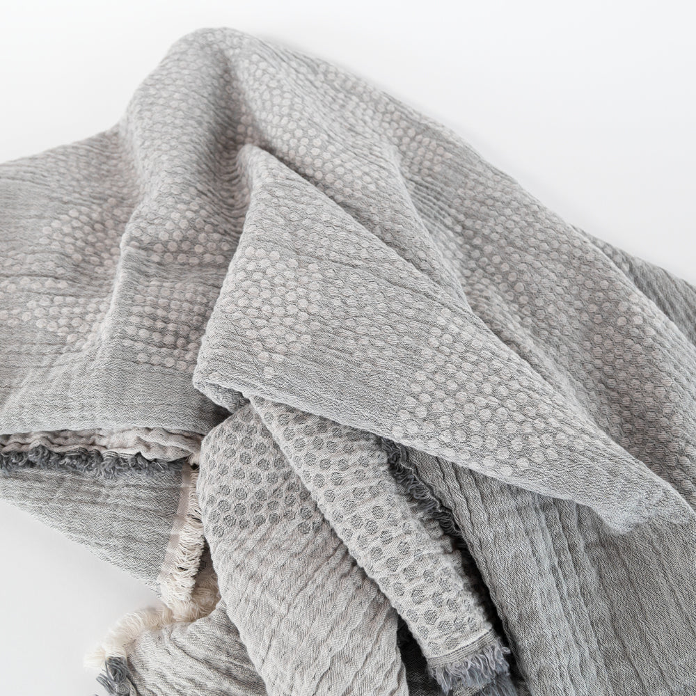 Mira Stone, a gray light weight Portuguese throw from Tonic Living