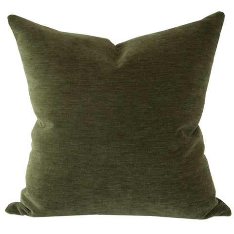 Moore Velvet, Hunter Green - A hunter green velvet pillow with a mohair like texture.