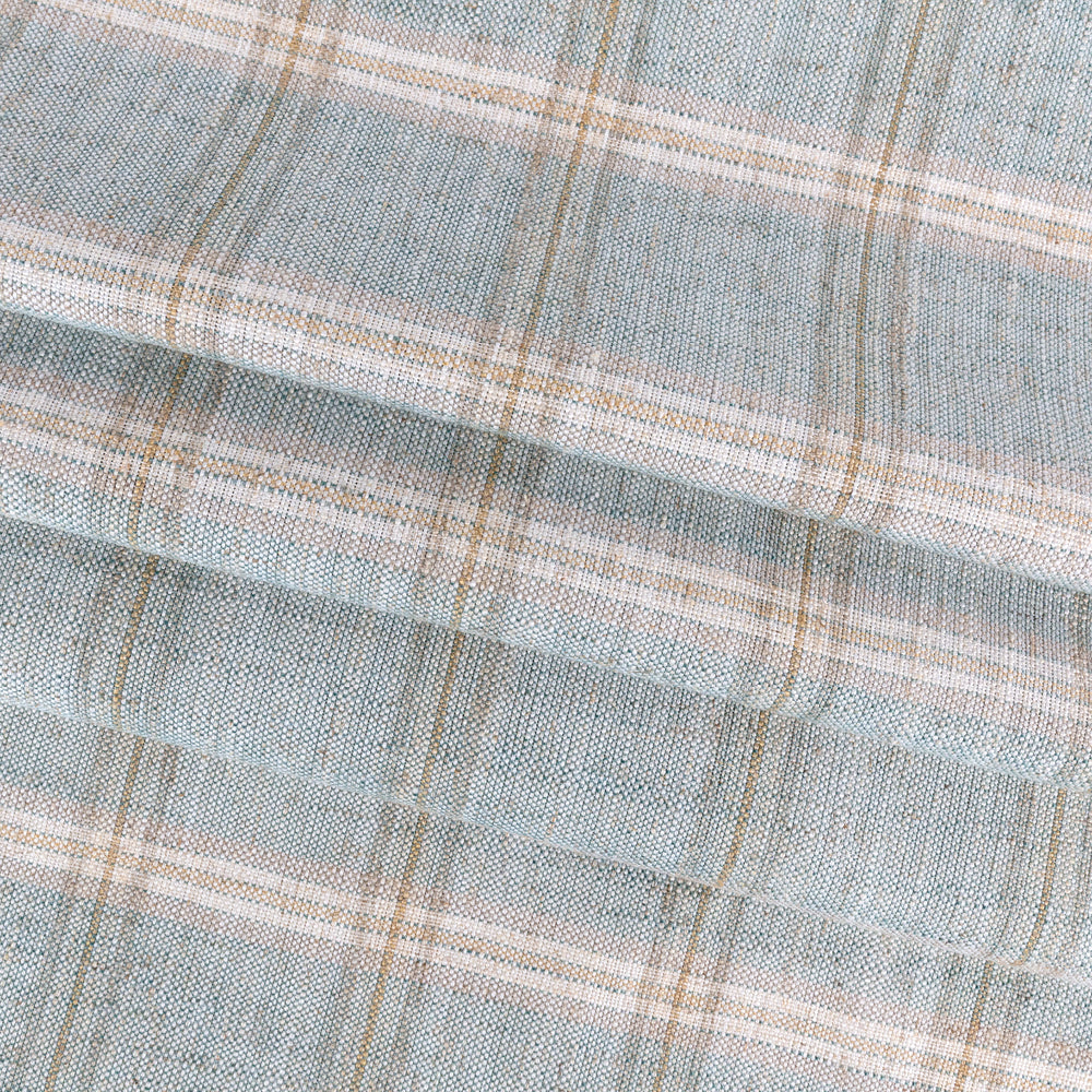 Nantucket Plaid Ocean, a soft blue and beige plaid fabric from Tonic Living