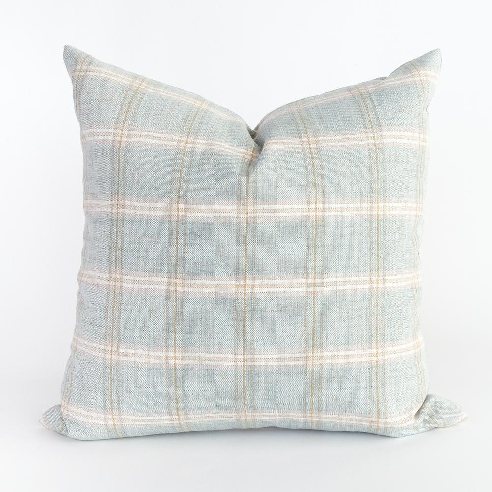 Nantucket plaid ocean blue pillow from Tonic Living