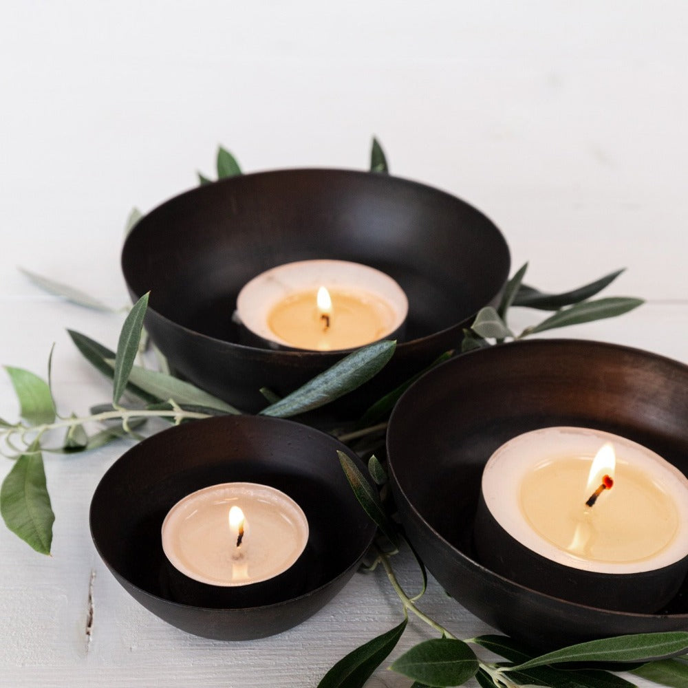 Orion Votive Set, Oxide a set of three black, matte, metal bowls from Tonic Living