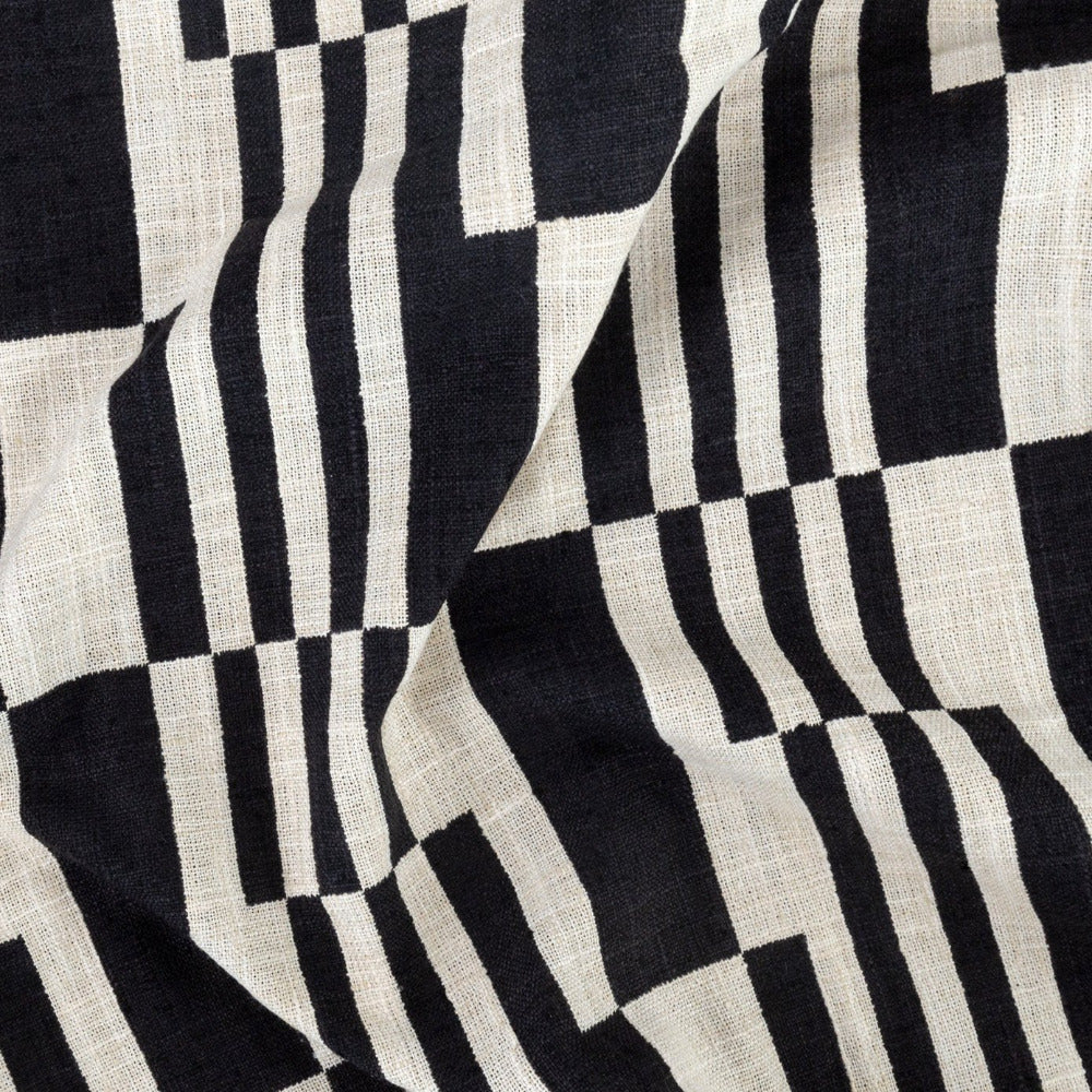 Ossington graphic block print black and cream fabric from Tonic Living
