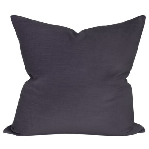 A gunmetal grey velvet pillow, perfect for adding an element of texture, luxury and softness to your space.