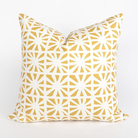 Planetarium pillow with Justina Blakeney graphic yellow fabric, from Tonic Living