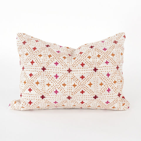 Raya mini lumbar Pillow, Sangria, a pink and coral embroidered cross hatch from Tonic Living