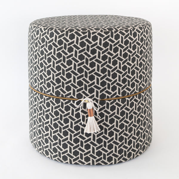 Swell Reed Round Ottoman Stool Charcoal Ibusinesslaw Wood Chair Design Ideas Ibusinesslaworg