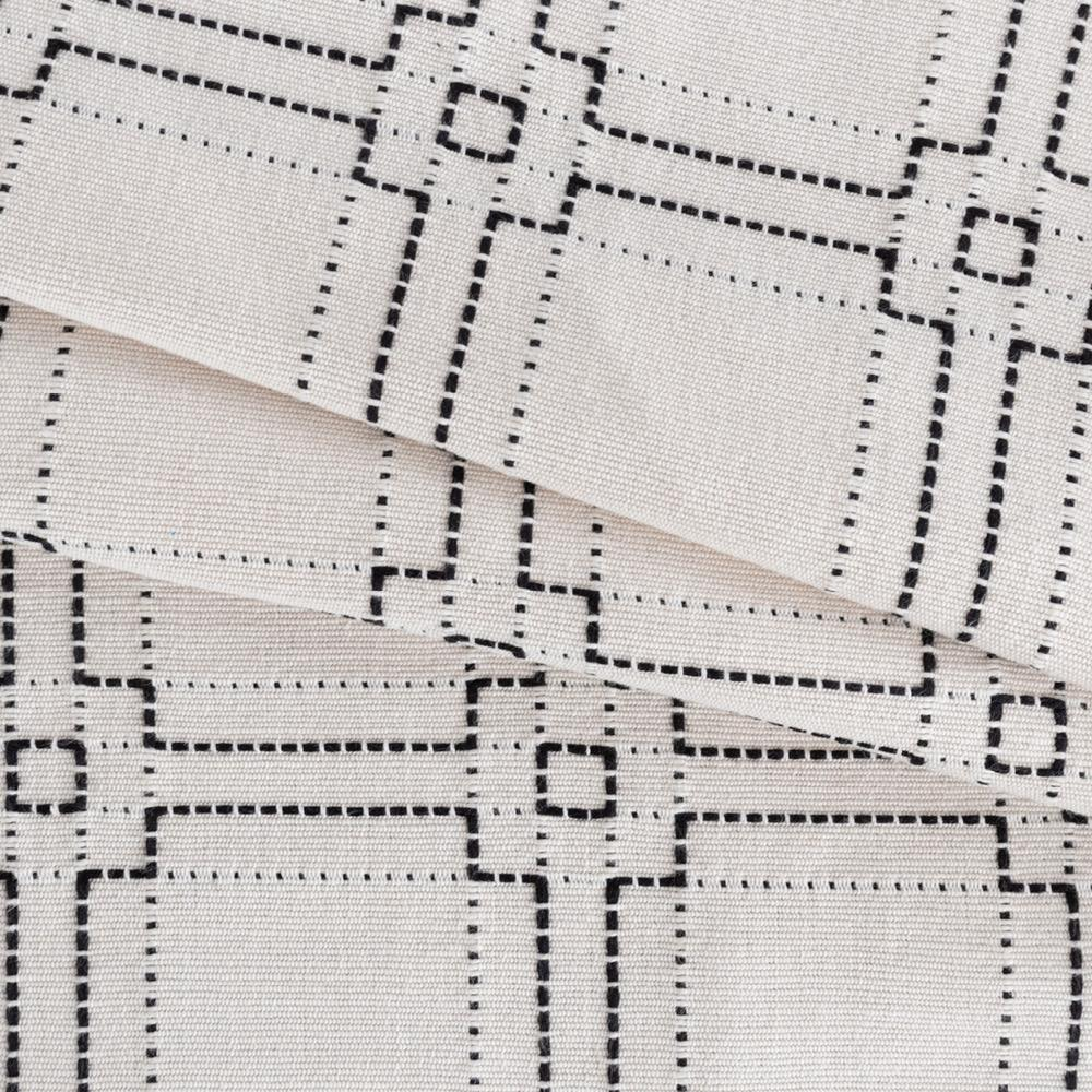 Rita, a black on ivory square stitched pattern fabric from Tonic Living