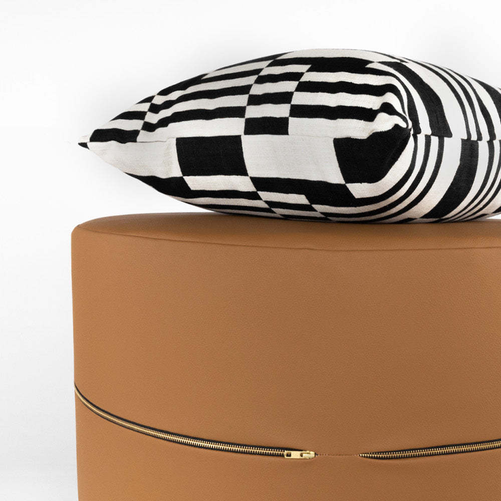 Ossington pillow and Tate, Saddle ottoman