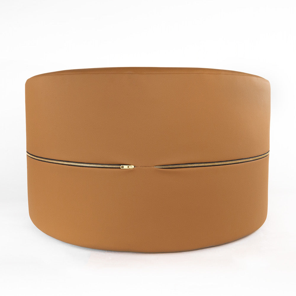 Tate, Saddle a faux leather, large round ottoman from Tonic Living
