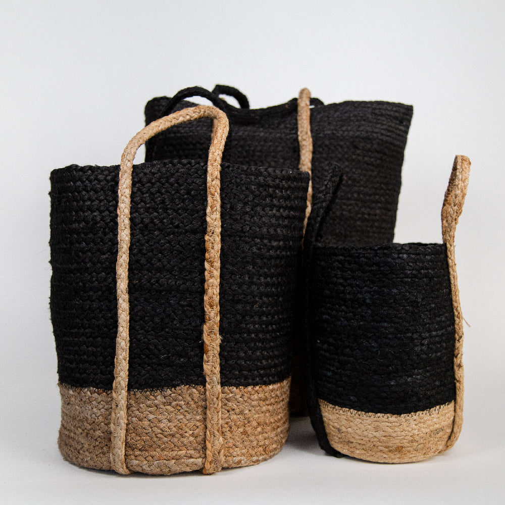 Seville Jute Baskets, Black, and natural jute baskets in three sizes from Tonic Living