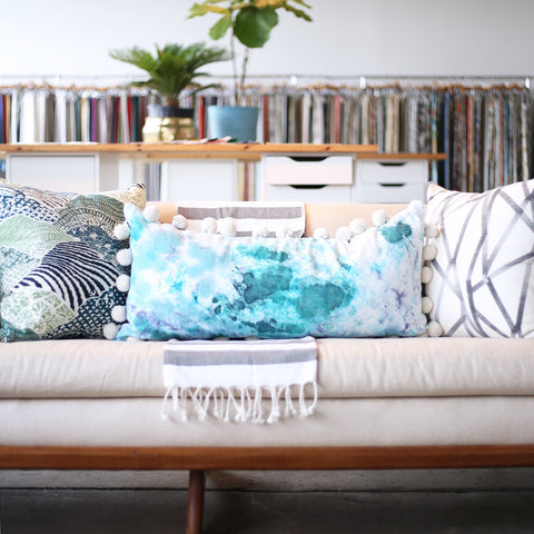 "15"" x 32"" Hand-Dyed Decorative Extra Long Pillow. These one of a kind pillows are lovingly hand-dyed and painted by designer Tiffany Pratt exclusively for Tonic Living. The pillows, like original art, are all numbered as no two are alike."