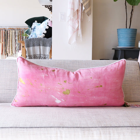 "15"" x 32"" Hand-Dyed Decorative Extra Long Pillow  These one of a kind pillows are lovingly hand-dyed and painted by designer Tiffany Pratt exclusively for Tonic Living. The pillows, like original art, are all numbered as no two are alike."