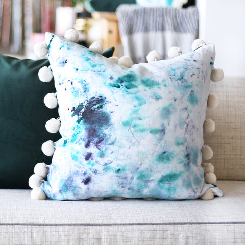 "20"" x 20"" Hand-Dyed Decorative Pillow  These one of a kind pillows are lovingly hand-dyed and painted by designer Tiffany Pratt exclusively for Tonic Living. The pillows, like original art, are all numbered as no two are alike."