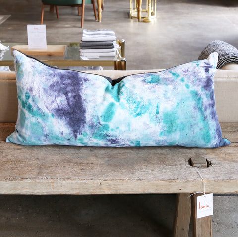 "15"" x 32"" Hand-Dyed Decorative Extra Long Pillow  These one of a kind pillows are lovingly hand-dyed and painted by designer Tiffany Pratt exclusively for Tonic Living."