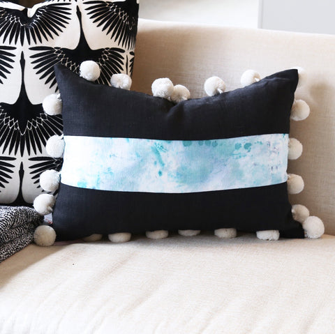 "14"" x 20"" Hand-Dyed Decorative  Pillow. These one of a kind pillows are lovingly hand-dyed and painted by designer Tiffany Pratt exclusively for Tonic Living. The pillows, like original art, are all numbered as no two are alike."