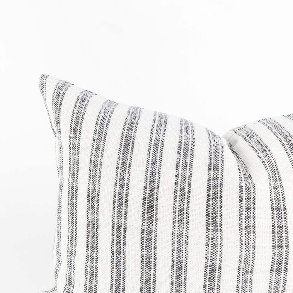 Thompson Ticking Domino, a black and white stripe mini lumbar pillow