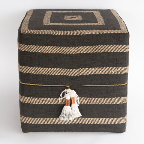 Ottoman Cube - Thornton Stripe, Pewter - Tonic Living