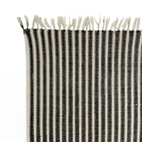 Ticking Runner Rug, Black + Natural - [Product_type] - Tonic Living
