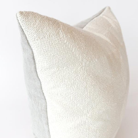 Tilda reversible white embroidered pillow from Tonic Living