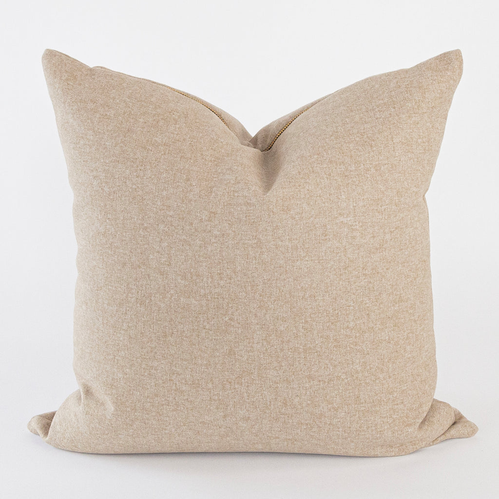Tobermory Felt Pillow, Camel, a soft beige felt pillow with brass zip from Tonic Living