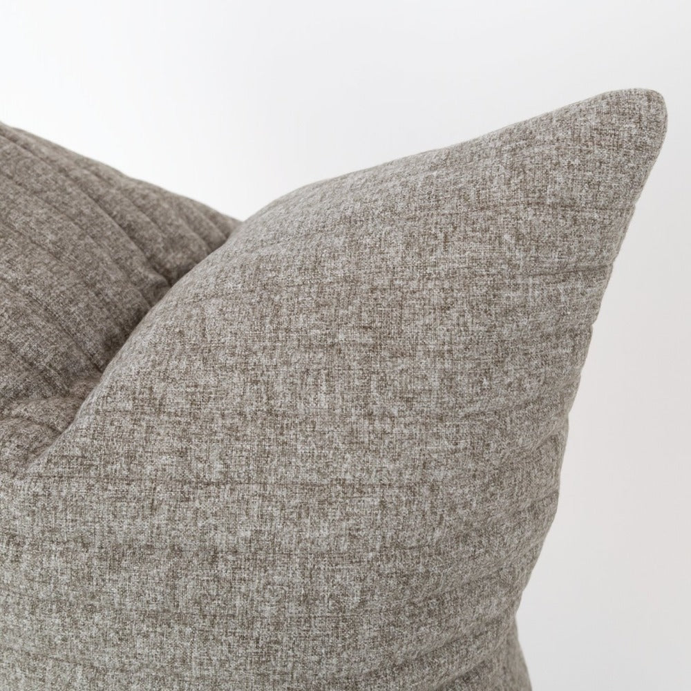 Tobermory Quilted Felt Pillow, Flannel, a gray channel quilt pillow from Tonic Living