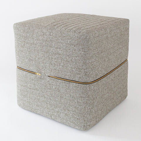 Tobermory Quilted felt Ottoman cube, flannel, a gray channel quilt felt ottoman from Tonic Living
