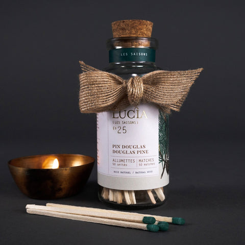 Lucia Douglas Pine wood matches in glass bottle