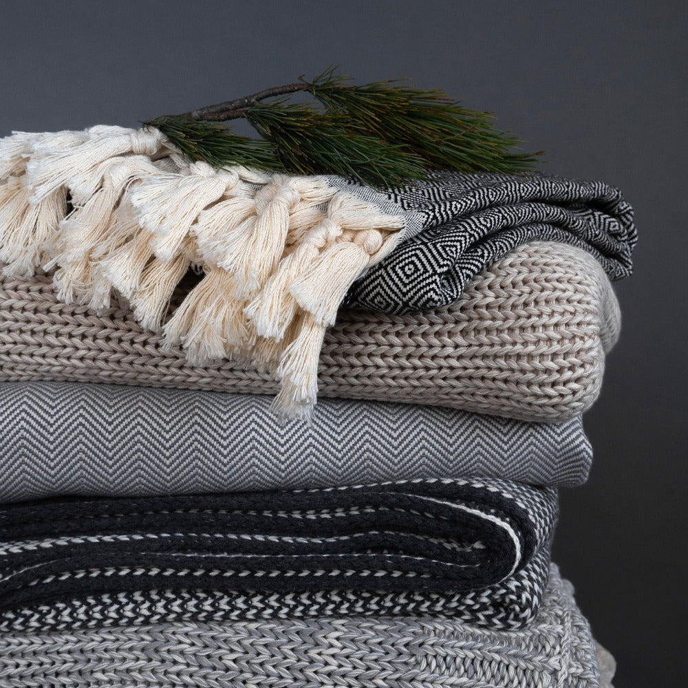 Munroe, Grey Throw Blanket from Tonic Living