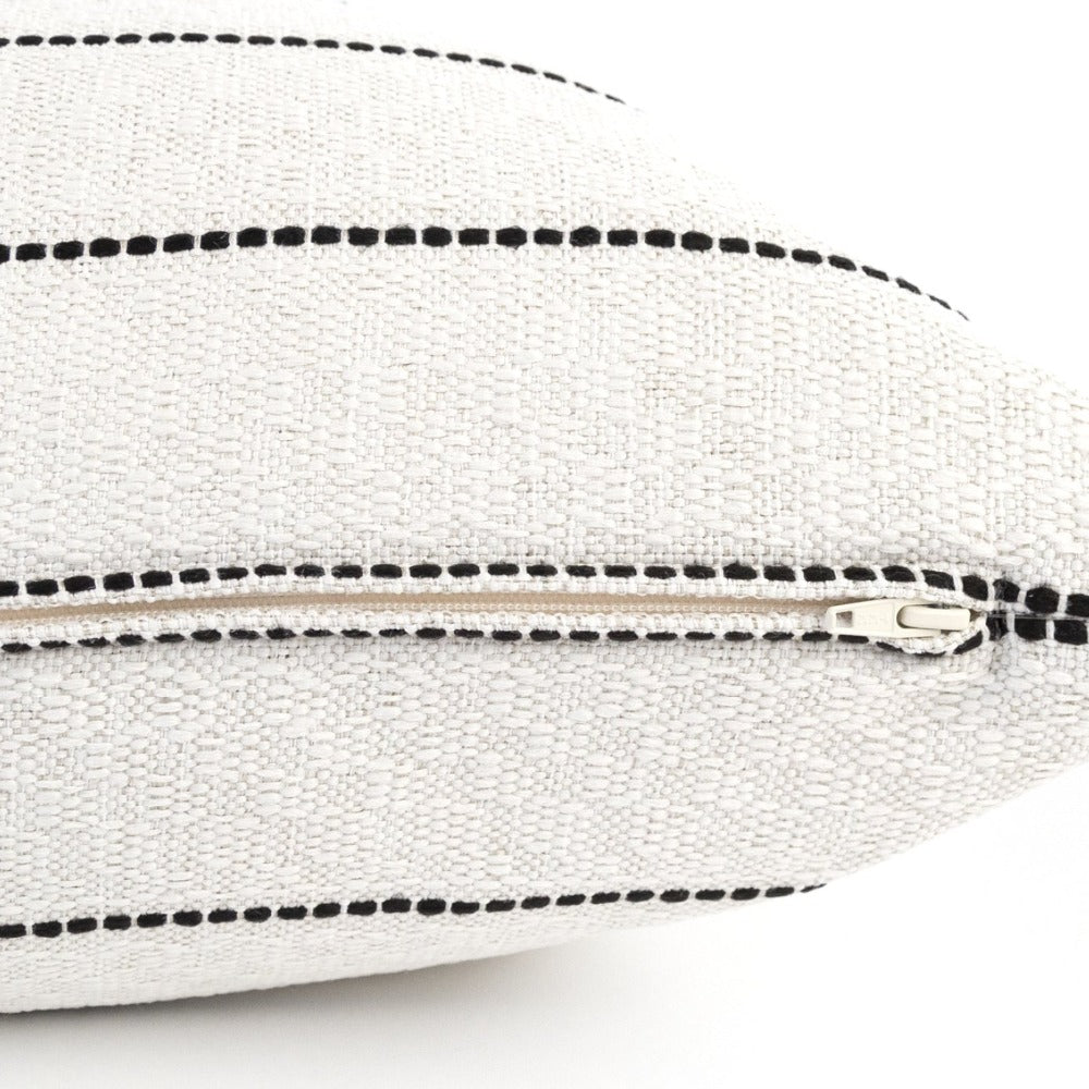 Toulouse, Onyx, black and white dotted stripe pillow, Tonic Living Bestseller