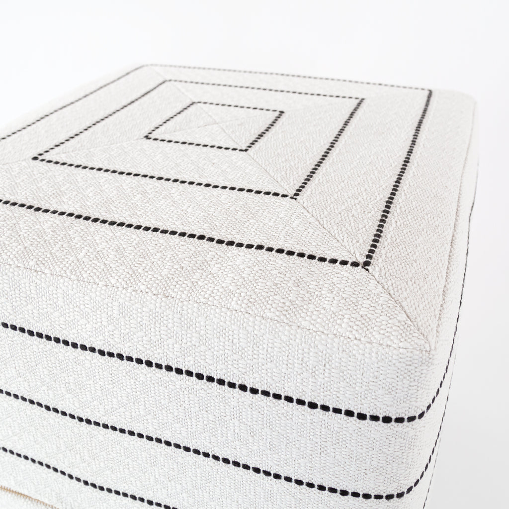 Toulouse black and white stripe cube ottoman from Tonic Living