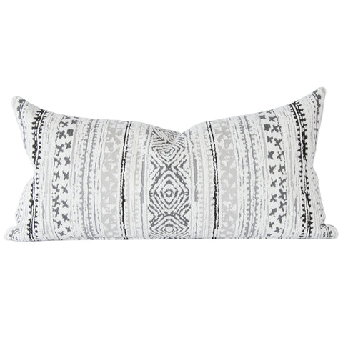 Tulum, Storm (Indoor/Outdoor) - A cozy-soft, bohemian lumbar pillow into any mix with it's easy-to-go-with palette of cream, grey and a dash of black.