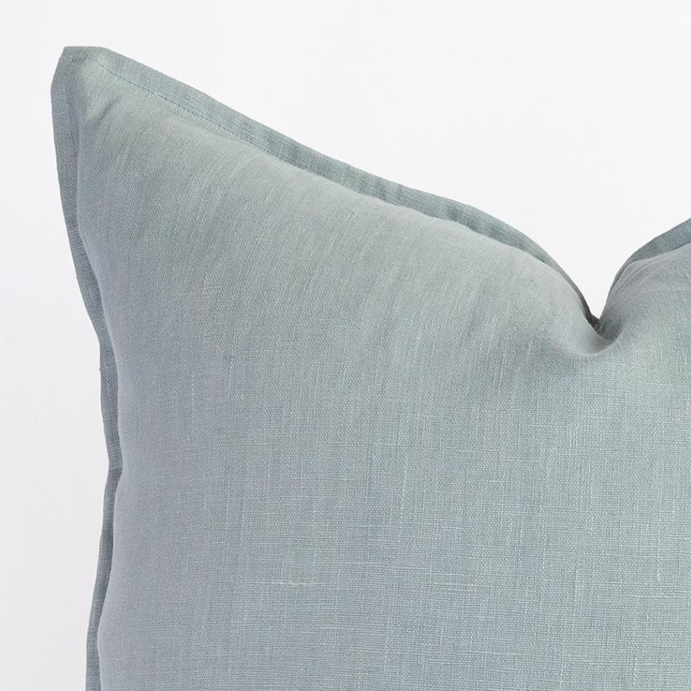 Tuscany lake blue linen pillow with flange detail from Tonic Living