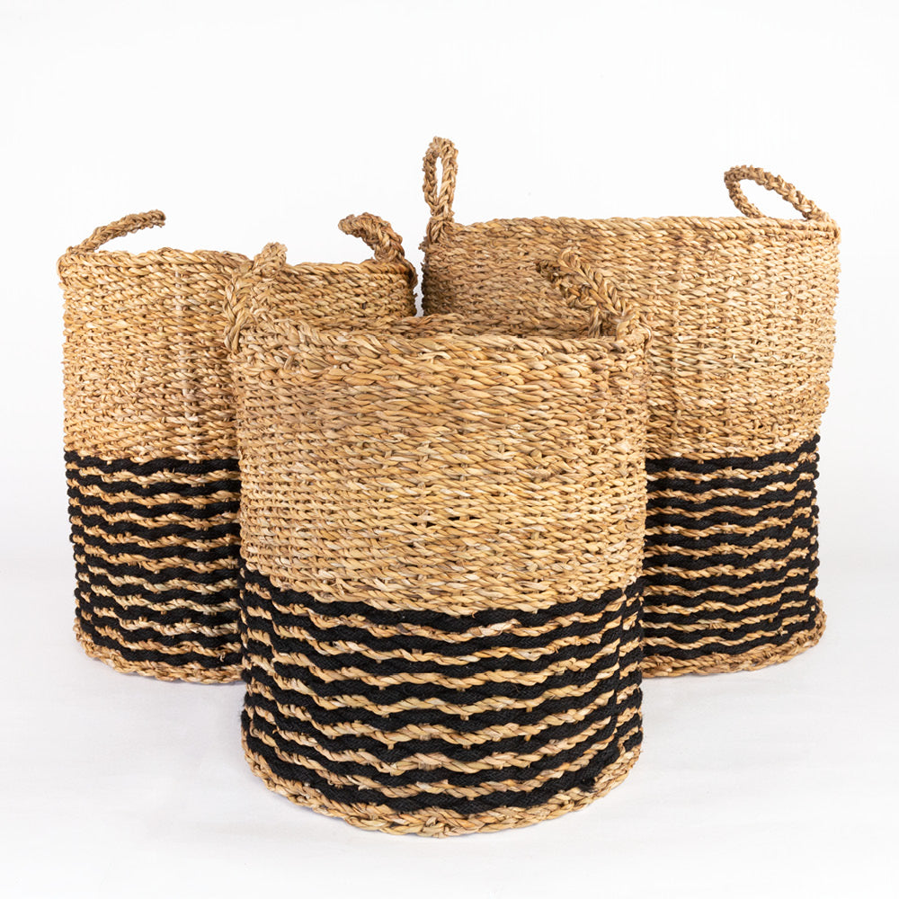 Valencia natural and black seagrass baskets  from Tonic Living