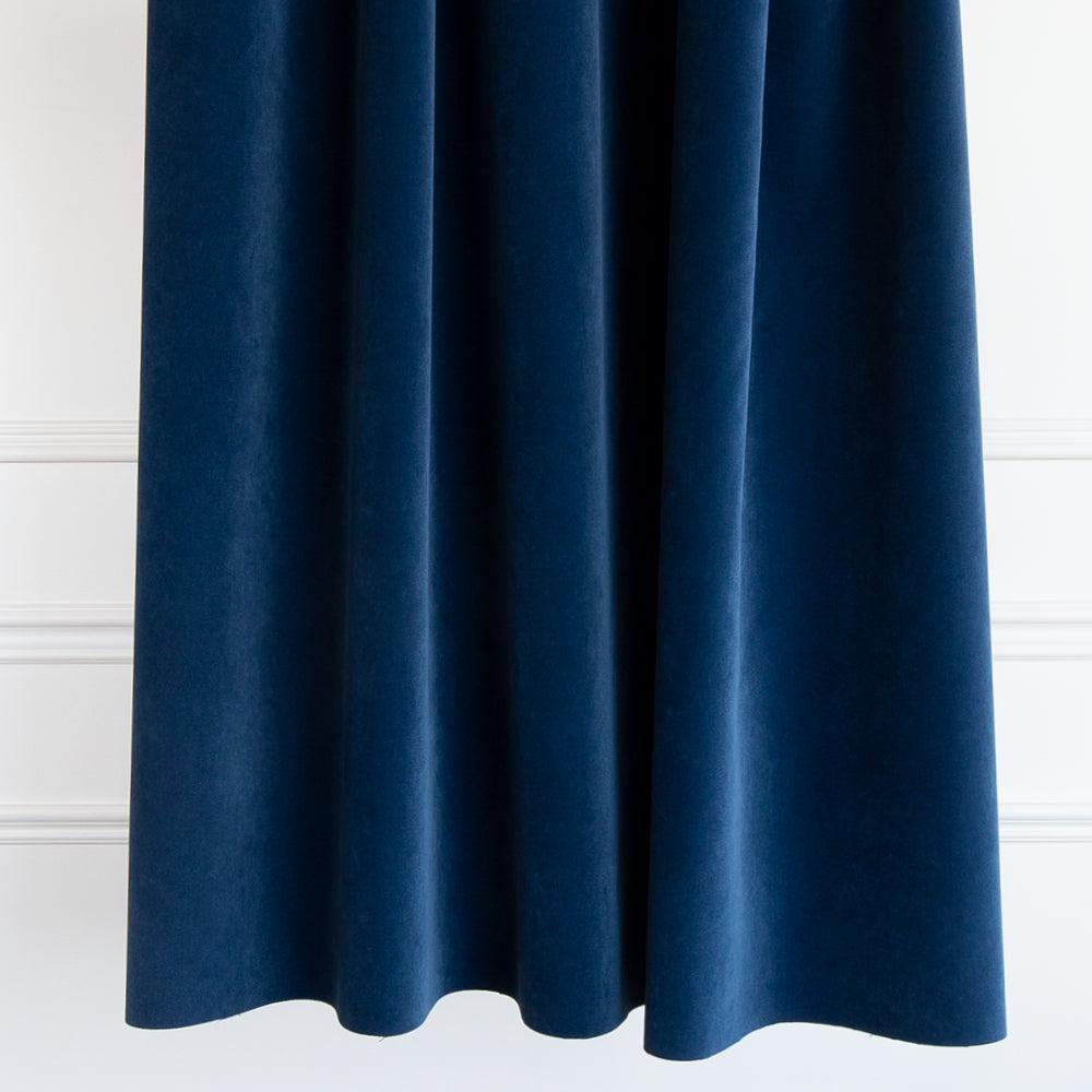 Valentina Velvet, Ink dark navy blue indigo fabric