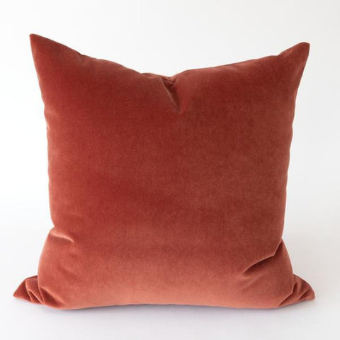 Valentina Velvet pillow in paprika, burnt orange and brick red