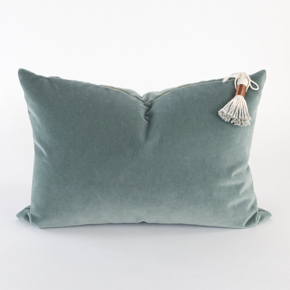 Valentina Velvet Pillow, Mineral, a green blue lumbar pillow with brass zipper from Tonic Living