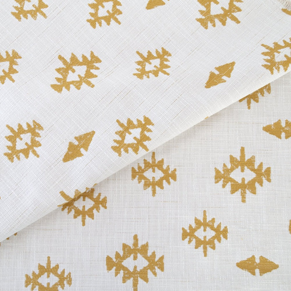 Viva fabric, Ochre, mustard yellow motifs on cream background from Tonic Living